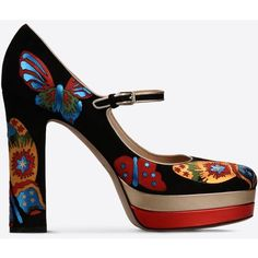 Valentino Garavani Embroidered Mary Jane (£820) ❤ liked on Polyvore featuring shoes, black, high heel shoes, chunky high heel shoes, black shoes, chunky heel shoes and thick heel shoes