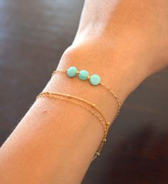 Amazonite Trio Bracelet Gold Filled Chain by sunlaces on Etsy, $18.00