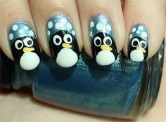 Penguin Nails  Nail tutorial & more photos here: http://www.swatchandlearn.com/nail-art-tutorial-penguin-nails/