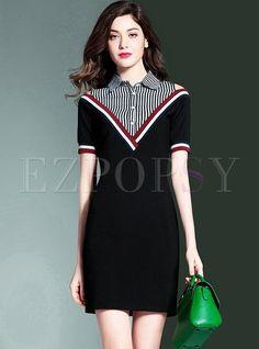 #Ezpopsy - #Ezpopsy Slim Lapel Color-blocked Striped Bodycon Dress - AdoreWe.com Semi Formal Attire, Diy Dress, Dress Form, Little Dresses, Striped Dress, Plus Size Dresses, Short Dresses, Dress Patterns, Fashion Dresses