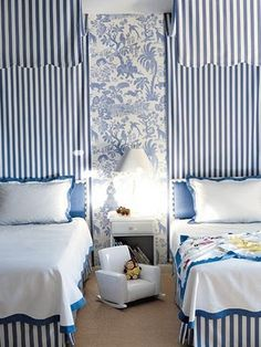 """Adorable room from Alessandra Branca, love her striped 'canopies"""", the fun chinoiserie inspired toile, and the gorgeous linens.Love!"""
