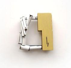lauren markley - Broken Down Brooch - 2014 - brass, wood, paint, sterling silver, iron wire, dirt
