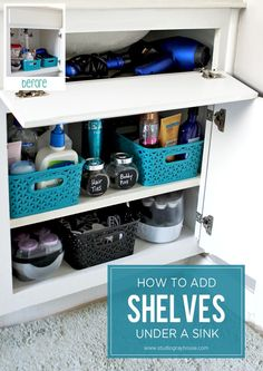 Take advantage of all the wasted space at the top of bathroom cabinets by adding shelves under the sink to keep supplies organized.