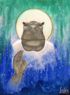 Toueris ou Taouret : déesse hippopotame égyptienne (aquarelle et encres de couleur) - par Lalex Andrea