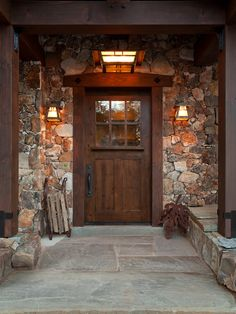 Exterior, Fascinating Classic Front Doors Design With Wood Material And Rustic Entry Plus Stone Wall As Well As Antique Pendants Also Sconce: Amazing Beautiful front Doors Decoration with Attractive Accessories