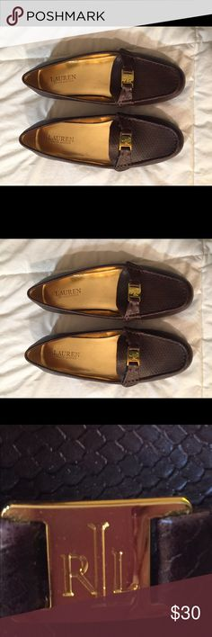 Lauren Ralph Lauren size 7.5 brown loafers Lauren Ralph Lauren size 7.5 brown loafers with gold logo. NWOT. In great condition! Lauren Ralph Lauren Shoes Flats & Loafers