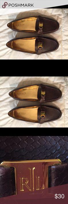 Lauren Ralph Lauren size 7.5 brown loafers Lauren Ralph Lauren size 7.5 brown loafers with gold logo. NWOT. In great condition! Lauren Ralph Lauren Shoes Flats & Loafers