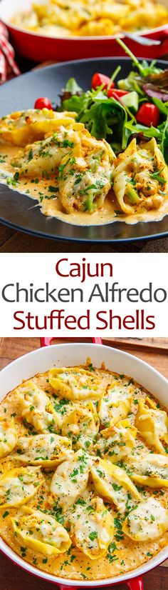 Cajun Chicken Alfredo Stuffed Shells Recipe : Cajun seasoned chicken and broccoli stuffed shells in a tasty alfredo sauce and covered in melted cheese! Chicken Alfredo Stuffed Shells, Stuffed Shells Recipe, Stuffed Pasta Shells, Chicken Pasta Recipes, Healthy Pasta Recipes, Cooking Recipes, Cajun Cooking, Cajun Chicken Pasta, Chicken Ideas