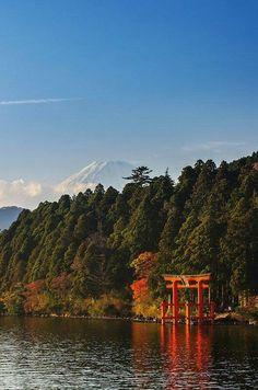 Mount Fuji and Lake Ashi - Hakone, Kanagawa, Japan Hakone Japan, Monte Fuji, Japanese Travel, Tokyo Japan, Japan Trip, Cool Places To Visit, Wonders Of The World, Beautiful Places, Amazing Places