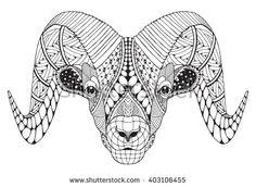 Male rocky mountain bighorn sheep ram head zentangle stylized, vector illustration, freehand pencil, hand drawn, pattern. Zodiac sign aries.