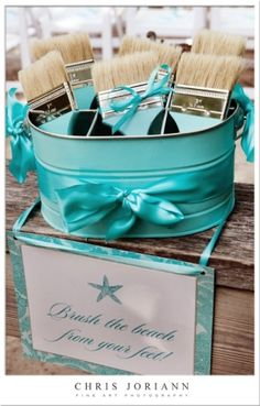 Cute idea for a beach wedding! No sand in the house! :)
