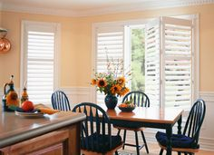 "Hunter Douglas Palm Beach  ""Palm Beach™ Polysatin™ shutters are plantation-style shutters constructed with UV resistant Polysatin™ compound, so they're guaranteed never to warp, crack, fade, chip, peel or discolor, regardless of extreme heat or moisture."""