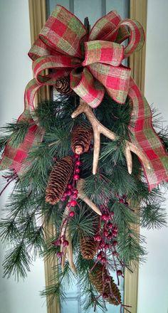 Antlers for Christmas Swag by FlowersPlusMore on Etsy