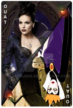 Evil Queen Grimhilde & Lana Parrilla [as Evil Queen Regina] (Cards by Jeorje90 @deviantART) #OnceUponATime #SnowWhiteAndTheSevenDwarfs