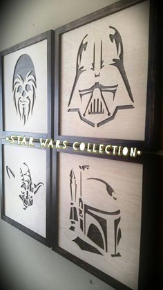 Star Wars Collection: Set of 4 Star Wars wall picture frame designs made from furniture grade pine and Baltic birch. Diy Wall Art, Wall Art Sets, Wood Wall Art, 3d Wall, Wall Decor, Star Wars Wall Art, Star Wars Room, Star Wall, Star Wars Zimmer