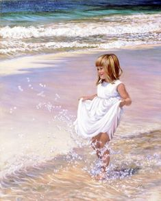 Sharing The World Together: Painter Marie Witte Art Plage, Painting People, Beach Art, Beautiful Paintings, Art Lessons, Painting & Drawing, Art For Kids, Watercolor Paintings, Watercolours