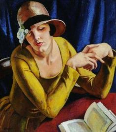 ~Young woman reading ~ by Adrian Paul Allinson (1890-1959), British painter