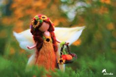 Autmn waldorf needle felted fairy, wool felt, figurine, sculpture,