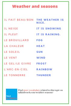 Learn how to make small talk about the weather and improve your vocabulary related to weather conditions in French with this complete guide to weather-related terms.+ download the list in PDF format for free! Get it here: https://www.talkinfrench.com/weather-seasons/