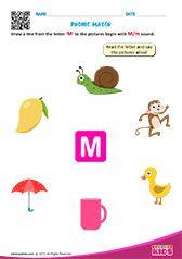 Phonic Match M Letter S Worksheets, Nursery Worksheets, Alphabet Worksheets, Alphabet Activities, English Activities For Kids, English Worksheets For Kindergarten, Teaching Kindergarten, Kindergarten Worksheets, Preschool Phonics