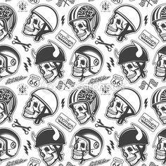 Motorcycle Themed handmade drawing helmets with skull. Helmets set. — Ilustração de Stock #68961013