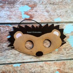 Felt woodland Hedgehog childrens animal mask by RosieKEmbroidery