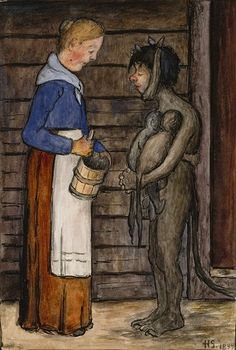 The Farmer's Wife and the Poor Devil by Hugo Simberg