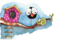 ACEO-Original-watercolor-painting-whimsical-bird-crow-pink-house-chameleon