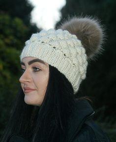 5339d33b1605ac Women's Cream Hat, Hand Knit, Pom Pom, Winter White, Acrylic, Beanie, Cream  Hat, Pom Pom Hat, Hand knitted, Christmas Gift, Gift for Her
