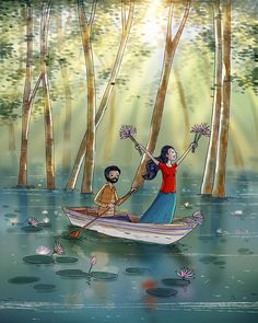 Image may contain: one or more people, outdoor and text Painting Love Couple, Art Love Couple, Love Cartoon Couple, Cute Couple Drawings, Anime Love Couple, Love Art, Couple Illustration, Illustration Artists, Digital Illustration