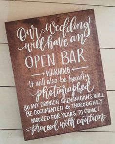 Wedding Open Bar Sign Rustic Wedding Signs Wooden Wedding