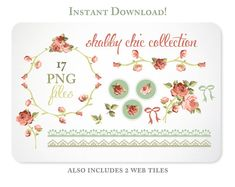Shabby Chic Roses Digital Clipart for Scrapbooking & Branding  - Instant Download - 2-1