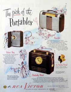 """Vintage Radio Advertising - RCA Victor, """"The Pick of the Portables"""", From Collier's Magazine, May 8, 1948"""