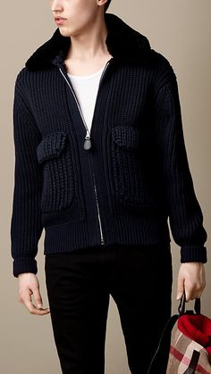 Burberry Brit Shearling Collar Knitted Bomber Jacket