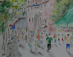 Street Festival by WilliamWilder, via Flickr City Streets, Painting, Art, Art Background, Painting Art, Kunst, Paintings, Performing Arts, Painted Canvas