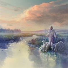 painting of jesus christ leading a flock of sheep to drink from a stream or river Paintings Of Christ, Jesus Painting, Images Of Christ, Pictures Of Jesus Christ, Lds Art, Bible Art, Première Communion, Christian Pictures, Jesus Art