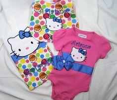 Hello Kitty Baby/Shower Gift Set Onesie Bib by FairyTaleFrocks, $40.00