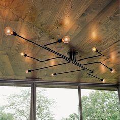 Vintage Ceiling Lights loft Luminaire Multiple Rod Wrought Iron Lamp Bulb For Home Lighting Living Room Lamparas De Techo Pipe Lighting, Hallway Lighting, Rustic Lighting, Chandelier Lighting, Modern Lighting, Ceiling Lighting, Lighting Ideas, Kitchen Lighting, Ceiling Fixtures