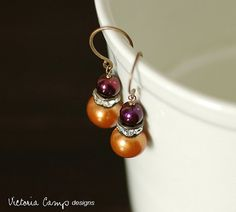 Pumpkin Orange and Plum Pearl Wedding by VictoriaCampDesigns