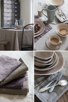 soft colored linen table cloths/napkins...beautiful dishes...coffee.