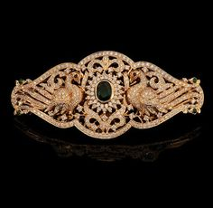 Diamond Vanki with peaock motif Indian Jewellery Design, Indian Jewelry, Jewelry Design, Arm Bracelets, Diamond Bracelets, Diamond Hair, Emerald Hair, Diamond Choker, Diamond Jewellery
