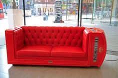 A seriously cool telephone box sofa! Sofa Couch, Couch Set, Comfy Sofa, Telephone Booth, Vintage Telephone, British Themed Rooms, Benjamin Shine, Sofa Design, Interior Design
