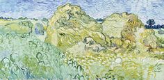Art of the Day: Van Gogh, Field with Stacks of Grain, July 1890. Oil on canvas, 50 x 100 cm. Fondation Beyeler, Switzerland.
