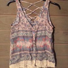 Light weight tank top Button front with crisscross back Eyelash couture Tops Tank Tops