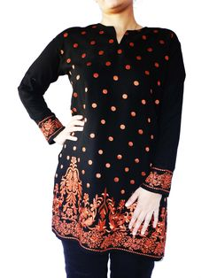 Long Linen Floral Embroidered Top Kurti in Various Colors (Customizable)