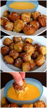 These Pretzel Bites are delicious. See this recipe and 21 other appetizers and party food recipes for Christmas and other holidays