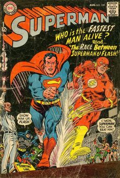 Superman #199, August 1967, cover by Carmine Infantino and Murphy Anderson  Watch this exciting race play out over at One Panel!  Place your bets!