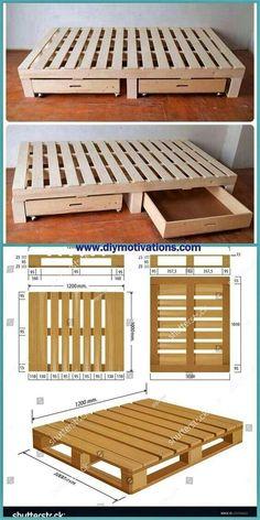 Diy Pallet Bed, Wooden Pallet Furniture, Diy Furniture, Furniture Design, Pallet Room, Pallet Size, Wooden Pallet Beds, Pallet Ideas, Pallet Bedframe