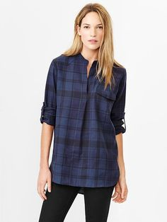 Western plaid popover shirt Product Image