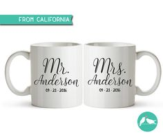 10% OFF PERSONALIZED Mr & Mrs Mugs Mr and Mrs by savethedate